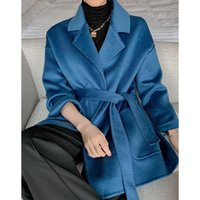Women's Wool & Blends Autumn Winter Water Ripple Double-faced Cashmere Ladies Thickening Long Lace Woolen Coat Plus Size
