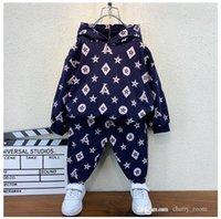 Дети дизайнерские комплекты одежды мода осень ребёнок цветок напечатанный с длинным рукавом трексуил детей с капюшоном на открытом воздухе одежды + брюки наряда S1597