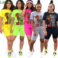Women Tracksuits Fashion Leisure Letters Pattern Printed Round Neck Short Sleeve Top T-shirt Shorts Two Piece Set Ladies New Outfits 2021