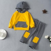 Clothing Sets Casual Baby Winter Clothes Born Infant Boys Girls Patch Striped Hooded Sweatshirt+Pants 2PCS Outfits Set Moletom