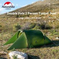 Tendas e abrigos Naturehike 2 pessoa de acampamento túnel grande área grande 20d nylon dupla camada à prova d 'água ao ar livre caminhadas luz