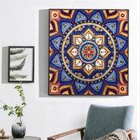 Çerçevesiz 30 * 30 cm Özel Şekil Elmas Boyama Mandala Çiçek Modern Desen DIY 5D Bölüm Matkap Çapraz Dikiş Kiti Kristal Sanat