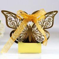 10 pz / set farfalla laser tagliata a taglio cavo carrello bomboniere box regali caramelle scatole con nastro baby shower evento di nozze forniture per feste