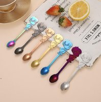 Creative Stainless Steel Couple Spoon Dessert Coffee Stirring Personalized Western Tableware Cartoon Wedding Supplies Guest Gift RRA7687