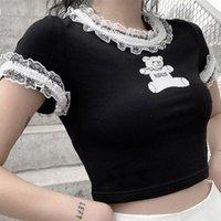 Women's T-Shirt Goth T Shirts Fashion Kpop Bear Print Graphic Tees Summer Egirl Sexy Lace Crop Top Kawaii Grunge Emo Clothing Women Aestheti