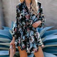 Casual Dresses Spring Elegant Office Lady 2021 Autumn Long Sleeve Elastic Waist Party Dress Women Floral Print A-Line Mini