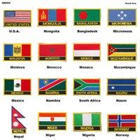국기 자수 패치 배지 U.S.A. 몽골 방글라데시 미크로네시아 몰도바 모로코 모나코 모잠비크 멕시코 나미비아