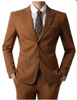 Men's Suits & Blazers Slim Fit Groomsmen Notch Lapel Groom Tuxedos Brown Mens Wedding Man (Jacket+Pants)