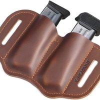 Taille Taschen Leder Doppelstapel Magazinbeutel für Gürtel, IWB oder OWB Pistole MAG 9mm.40 .45 Kaliber, Holster 17
