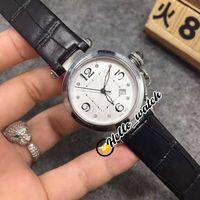 Fashion New Pasha C 34mm WJ11902G quadrante bianco svizzero al quarzo orologio da donna sapphire cassa in acciaio nero cinturino in pelle nera orologi da donna ciao_watch