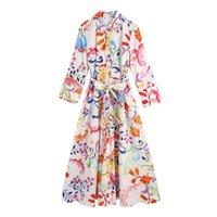 Casual Dresses KUCLUT Women Vintage Totem Floral Print Bow Sashes Midi Shirt Dress Female Chic Three Quarter Sleeve Slim Vestidos K119