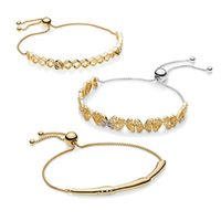 Trendy Women 925 Pure Silver Sliding Chain Bangle Original Shine Gold Pans Honeybee Butterfly Bracelet Jewelry Birthday Gift