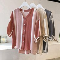 Women's Blouses & Shirts Female Striped 3 4 Sleeve Blouse Shirt Women Loose Blusas Femme Spring Summer Casual Ladies Office Plus Size Top Y9