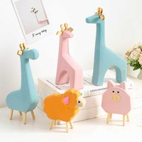 Ceramic Animal Ornaments Home Decoration Accessories Modern Giraffe Sheep Elephant Horse Decorations Easter Kids Gifts Desk Q0525
