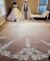 2021 Best Selling Chapel Length Bridal Veils with Appliques In Stock Long Wedding Veils 2019 Vestido De Noiva Longo Wedding Veil V146