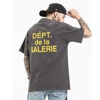 높은 거리 씻어 편지 인쇄 코튼 티셔츠 망 짧은 소매 느슨한 캐주얼 여름 티셔츠 O 넥 대형 힙합 티셔츠