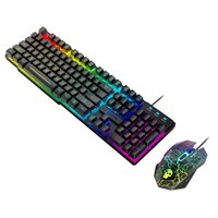 Tastiera Mouse Combos Top Selling in 2021 T6 Rainbow RGB Multi Retroilluminazione USB Cablaggio cablato Gaming Pad Set Supporto Vendita all'ingrosso e Drop