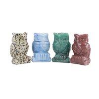 Crystal Gufo Arti e Artigianato Ornamenti Statua Desktop Un soggiorno Ornamento in stile cinese da 1,5 pollici 10DX Q2
