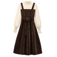 Casual Kleider Mode Plus Size Damenbekleidung 2021 Frühling Herbst Abnehmen Taille Temperament Gefälschte Zwei-teiliges Kleid 187c