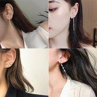 Dangle & Chandelier Cross Earrings Crystal Long Tassel Earring Gold Color Rhinestone For Women Personality Wedding Jewelry Gifts