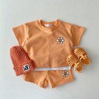Clothing Sets 2021 Summer Cute Flower Baby Short Sleeve Clothes Set Candy Color Girls T Shirt Boys Shorts Suit Children Sweatshirt