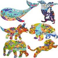 Пазлы формы животных для взрослых китов пингвин трицератопс Panda слон льва головоломки развивающие игрушки для детей головоломка подарок L0226