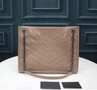 En iyi 3A Kalite 577999 33 cm Niki Orta Alışveriş Çantası Beklenilmiş Vintage Dalfskin Deri Omuz Çantaları, Toz Çanta ile Gelin, Ücretsiz Kargo