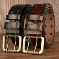 Belts Designer Mens Leisure Belt Metel Double Pin Buckle Waist Strap British Jeans Accessories Genuine Leather Business Brown Cinto