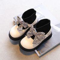Boots Stripe Bowtie Kids Shoes Slip-on Girl Ankle Pu Kint Splicing 2021 Autumn Child Round Toes School Uniform Dress Shoe 26-36