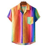 Men's Casual Shirts 2021 Summer Beach Shirt Mens Clothing Stylish Striped Print Plus Size Short-Sleeved Hawaiian Vacation Top Male Blouse