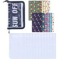 Gift Wrap PPYY-A6 Binder Pocket A6 PVC Zipper Wallet, Loose Leaf Bag 6-Ring Cash Budget Envelope Wallet System