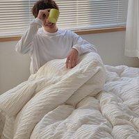 Постельные принадлежности Корейский конюстерский хлопок сплошной цвет набор из четырех частей обнаженных спящих листов одеяло крышка