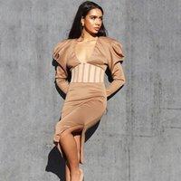 Günlük Elbiseler 2021 Ofis Lady Vestidos Moda kadın Giyim Patchwork Elbise Kadın V Yaka Estidos De Fiesta Bölünmüş Robe Femme