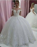 2021 Nuovi Abiti da sposa Arabo Dubai Dubai Bride Agazini Abito da ballo Off Spalla Spalla Vintage Puffy Pizzo Bridal Dress Abito da sposa Robe de Mariage Lace Up