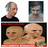 Party Masks Old Man Scary Mask Halloween Full Head Latex Cosplay Funny Face Woman Realistic Helmet Adult