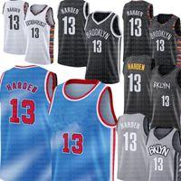 Bleu 13 Harden Jersey Kevin 7 Durant Basketball Jerseys 11 Kyrie Bon marché Noir Irving Jersey Blanc Gris Jersey Homme Homme Haute Qualité