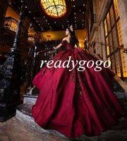 Borgogna Principessa Quinceanera Abiti Paillettes Applique Off Spallaccio Sweet Sweet 16 Dress Vestido de 15 Anos XV Boutique da sposa