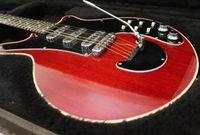 الأكثر مبيعا! BM01 براين قد توقيع النبيذ الأحمر الغيتار الأسود pickguard تريمولو جسر وايت بار، الكورية الكروم التقاطات، شحن مجاني