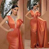 Orange Evening Dresses With Peplum Train Satin Sparkly Crystals Jewel Neck Bling Beads Mermaid Prom Gowns Illusion Formal Party Wear Arabic Robes De Soirée AL9577