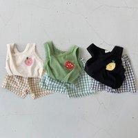Личные летние летние малыша мальчики одежда мягкие без рукавов жилет топы клетки PP шорты девушки одежда набор одежды детский костюм 210226