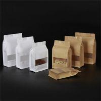 Kraft Stand Up Torbalar Kullanımlık Kraft Kağıt Paketleme Çantası Pencere Isı Isı Yapılabilir Gıda Saklama Çantası Ile