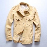 Cuir pour homme Faux AVFLY Mouton Chemises occasionnelles Vintage Lavage Véritable Shirt Véritable Hommes Slim Fit Jacket Skinny Male Beige