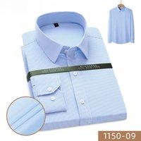 Men's Casual Shirts 2021 Men Shirt Long Sleeve Slim Fit No-Iron Business Work Cloth Mini Stripe Plaid White Blue Pink Bamboo SH064