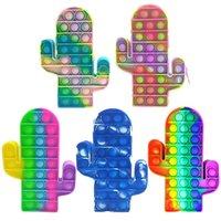 New Decompression popet Cactus Pencil Case Dimple Sensory Fidget Toys Silicone Push Bubble Stationery Storage Bag For Children