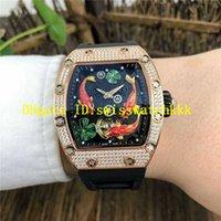 Top RM57-01 Diamond Business Watch Swiss Автоматические механические наручные часы Тонно 18 тыс. Розовое золото Водонепроницаемый роскошный час сапфировый кристалл