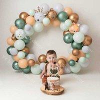 80 pcs / lote global chuveiro de bebê ouro DIY Balloons Garland Kit de arco cinzento látex suprimentos backdrop casamento decoração da festa de aniversário 210610