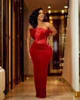 Aso Ebi Velvet Mermaid Long Evening Dresses with Beaded Ruched Strapless Bride Party Women Prom Gowns Zipper Back Maid of Honor Dress