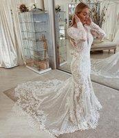 Arabic Aso Ebi Lace Mermaid Wedding Dress Beaded Appliques Deep V Neck Court Train Backless Plus Size Bridal Gowns