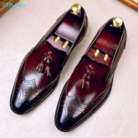 QYFCioufu Quaste Männer Lederschuhe Business Kleid Anzug Schuhe Männer Marke Bullock Echtes Leder Schwarz Slipon Ehts Herren