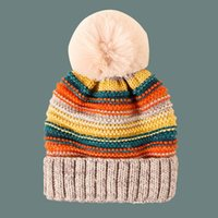 Fold Brim Rainbow Style Knit Pom Beanies Fashion Women Color Lines Solid Pom-Pom Ball Fitted Beanie Lined Fleece Warm Hat